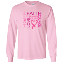 Faith, Hope & Courage Cancer Long Sleeve Tee Youth & Adult