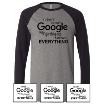 Google Unisex Long Sleeve Jersey Baseball Tee