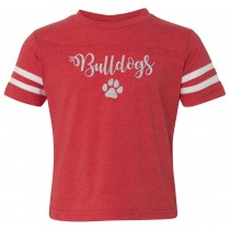 Glitter Bulldog Paw Toddler Football Fine Jersey Tee