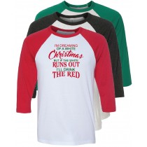 Christmas Wine 3/4 Baseball Tee
