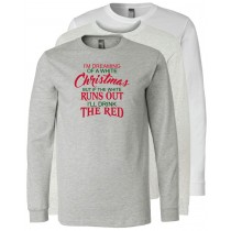 Christmas Wine Long Sleeve Jersey Tee