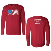 Support Our Troops Unisex Long Sleeve Jersey RED Tee