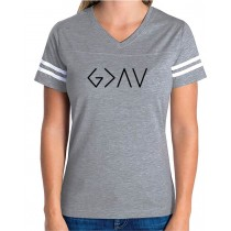 God Is Greater Than The Highs & Lows Women's Football Jersey Tee