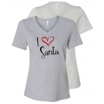 I {Heart} Santa Women's Relaxed V-Neck Tee