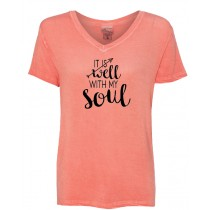 It is Well With My Soul Women's Oasis Wash V-Neck Tee in 4 NEW colors