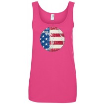 Flag in Baseball Women's Lightweight Ringspun Tank Top