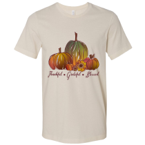 Thankful Grateful Blessed Pumpkin Bella Canvas Short Sleeve Tee