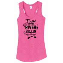 Floatin' On The River Ladies Racerback Tank