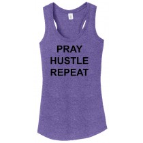 Pray Hustle Repeat Ladies Perfect Triblend Racerback Tank Top