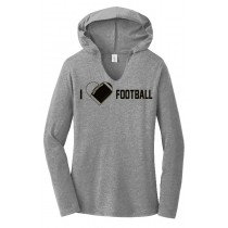I {heart} Football Ladies Perfect Long Sleeve Hoodie