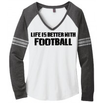 Better With Football Ladies Game Day V-Neck Tee