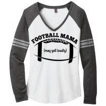 Football Mama Ladies Game Day V-Neck Tee