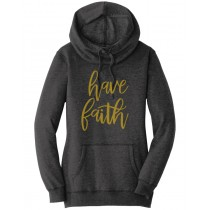 Have Faith Gold Foil Ladies Lightweight Fleece Hoodie