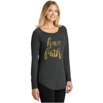 Have Faith Gold Foil Ladies Perfect Tri Long Sleeve Tunic