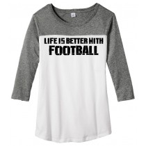 Better With Football Juniors Rally 3/4-Sleeve Tee