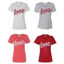 GLITTER Variety of Valentine LOVE Short Sleeve Tee in 4 colors