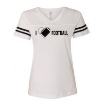 I {heart} Football Women's Football Jersey Tee