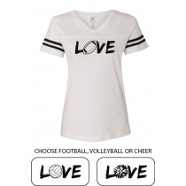 LOVE {sports} Women's Football Jersey Tee