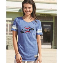 Baseball LIFE IS GOOD Women's Blue Varsity Shirt