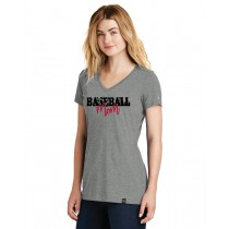 Baseball Mom Ladies Heritage Blend V-Neck Tee