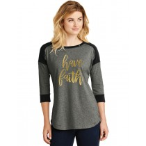 Have Faith Gold Foil Ladies Heritage Blend 3/4-Sleeve Baseball Raglan Tee