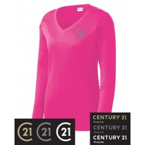 Century 21 Ladies Long Sleeve PosiCharge Competitor V-Neck Tee