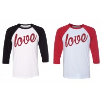 GLITTER Variety of Valentine LOVE in 3/4 Sleeve Tee in 2 colors