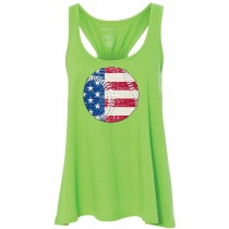 Flag in Baseball Women's Flare Tank